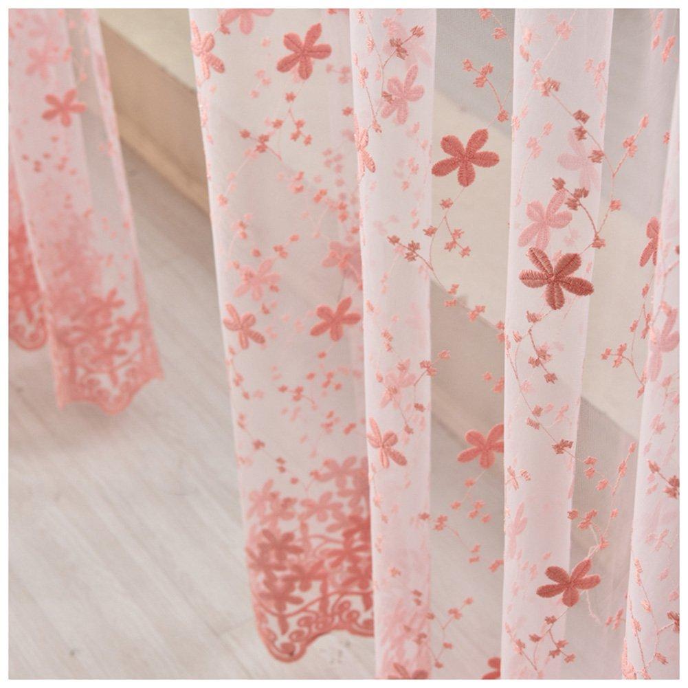 SCOFEEL HOME 1er Gardinen Vorh/änge Blumen Stickerei Optik Vorhang Voile Fensterschal Dekoschal f/ür Wohnzimmer Kinderzimmer Schlafzimmer