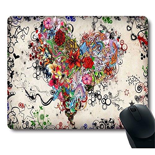 Gorgeous Flower Tattoo Heart Shape Unique Design Mouse pad
