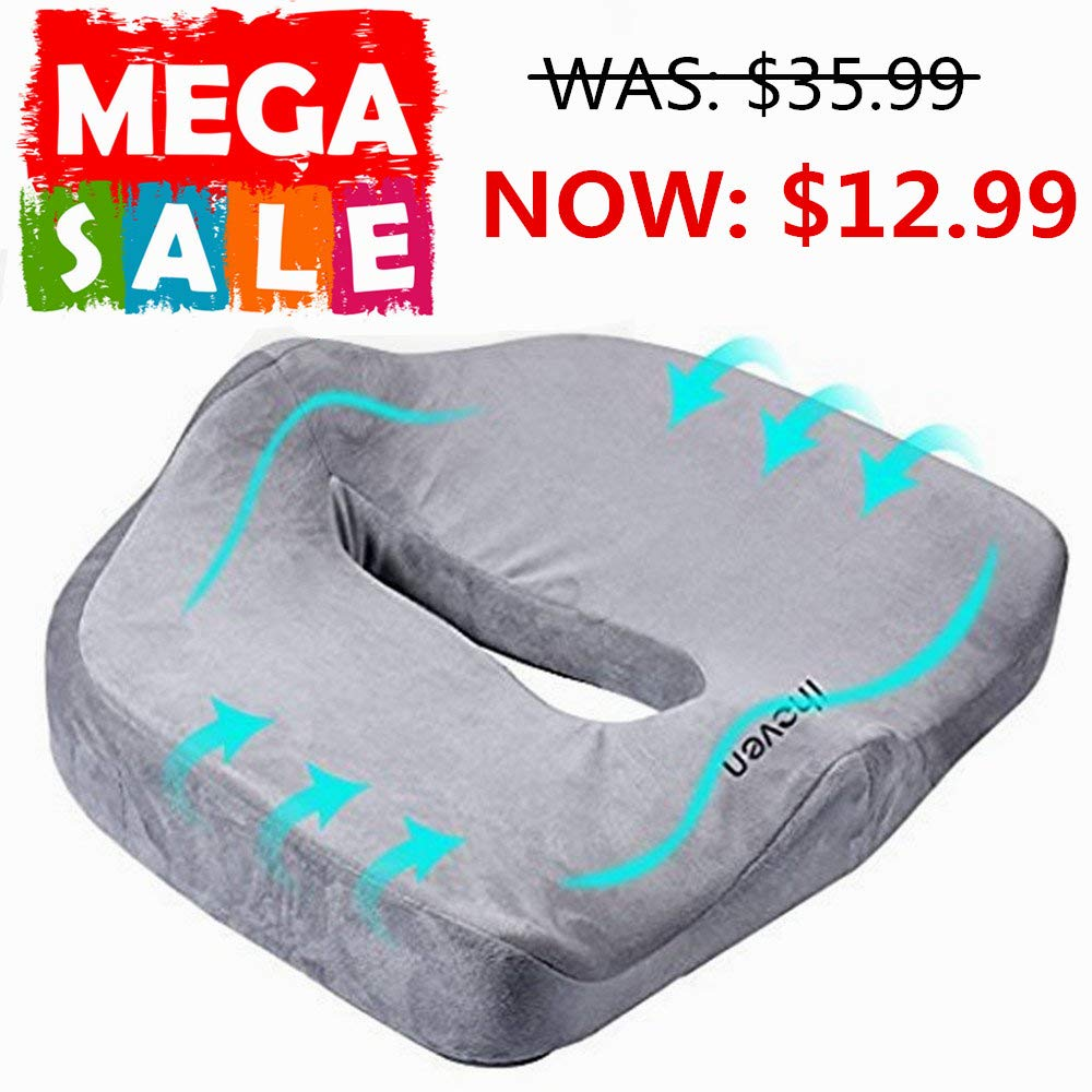 Memory Foam Orthopedic Coccyx Pad, Premium Comfort Seat Cushion – Provides Support and Relief for Tailbone, Spine, Lumbar, Pregnancy, Hemorrhoids, Back Pain - Perfect for Prolonged Sitting in Chair