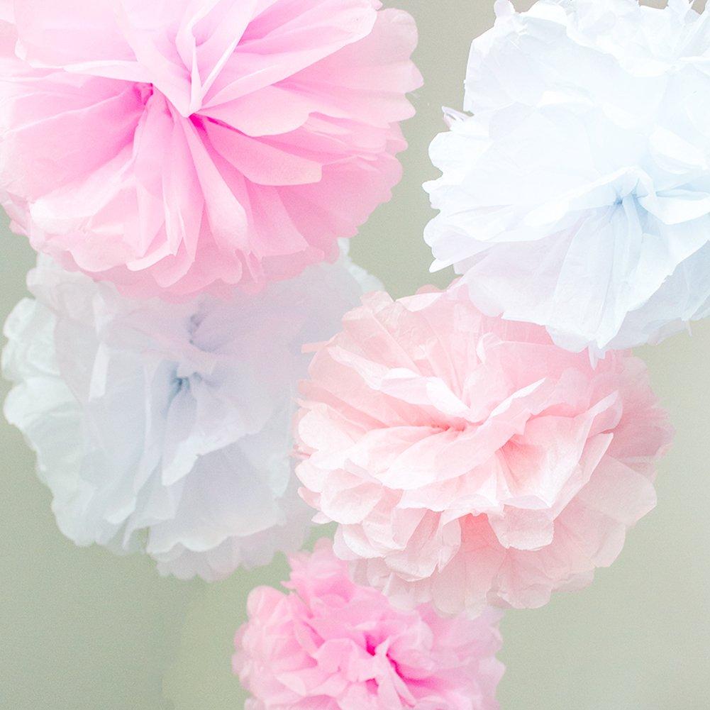 Fiestas Werbewas Juego de Pompones de Papel de Seda para Flores//Pelotas como decoraci/ón para Bodas Celebraciones Baby Shower y Otras Ocasiones Bautizo cumplea/ños