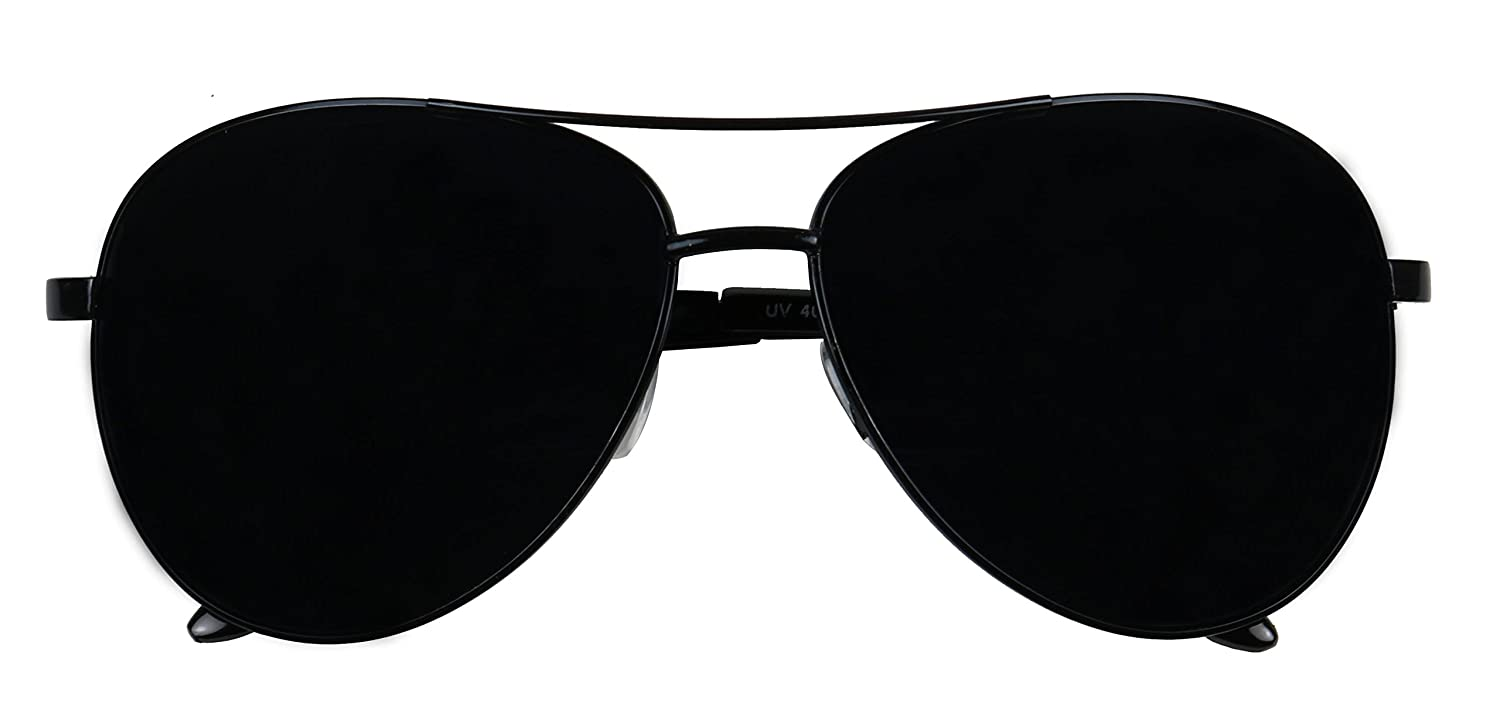 86327552e7 Amazon.com  Basik Eyewear - Oversized Wide Frame Pilot Metal Aviator  Sunglasses w  Super Dark Black Lens (Black Frame