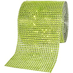 Mandala Crafts Bling Sparkling Acrylic Diamond Rhinestone Crystal Mesh Wrap Ribbon Roll for Cake Vase Centerpiece Party Wedding Decoration (4.75 Inches 24 Rows 10 Yards, Lime Green)