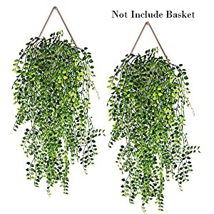 Hukidoy Artificial Plants Vines Fake Hanging Ivy Decor Plastic Greenery for Wall Indoor Outdoor Hanging Baskets Wedding Garland Decor (Pack of 2) 24