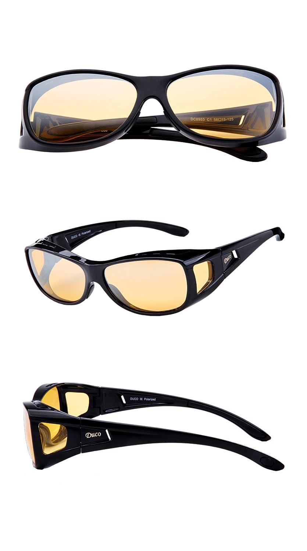 69758c5f8b Duco Polarised Night Driving Over Glasses Wrap Around Be Worn Over  Prescription Eyewear Polarized Night Vision 8953Y (Common Size Black)   Amazon.co.uk  ...