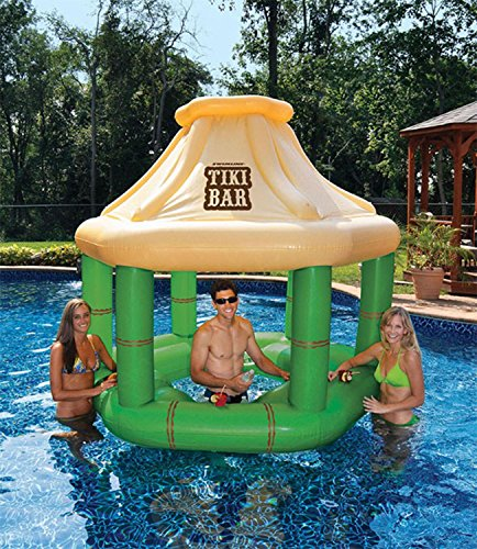 7.5' Inflatable Floating Tropical Tiki Bar for Swimming Pool