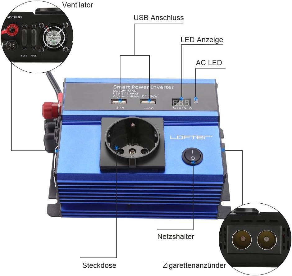 Lofter 300W Auto Wechselrichter Led Anzeige Kfz Spannungswandler Dc 12V Auf Ac 2