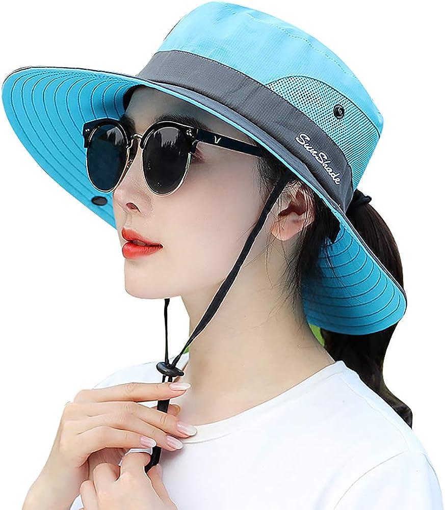 Women's Sun Hat Outdoor UV Protection Bucket Mesh Boonie Hat Adjustable Fishing Safari Cap Waterproof