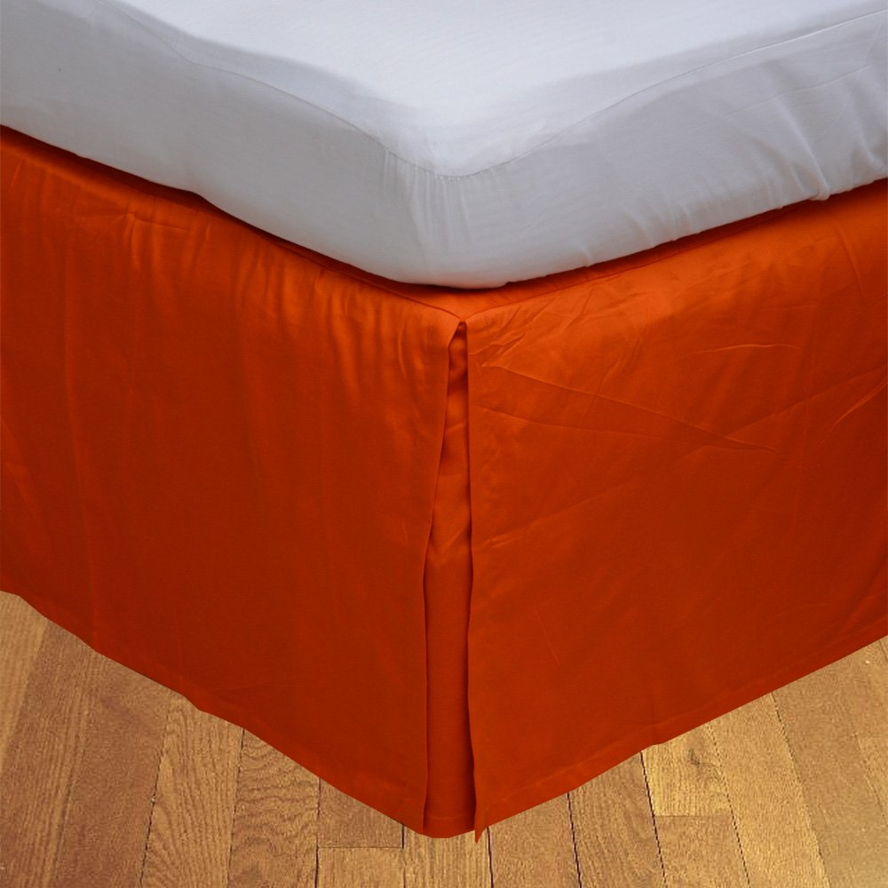 Relaxare Cal King 300TC 100% Egyptian Cotton Orange Solid 1PCs Box Pleated Bedskirt Solid (Drop Length: 11 inches) - Ultra Soft Breathable Premium Fabric