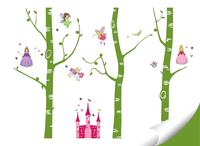 Wandaro Wandtattoo XXL Birkenstämme Märchenschloss Feen I I I Lavendel (BxH) 281 x 250 cm I Kinderzimmer Aufkleber Wandaufkleber Wandsticker Sticker W3420 1d078b