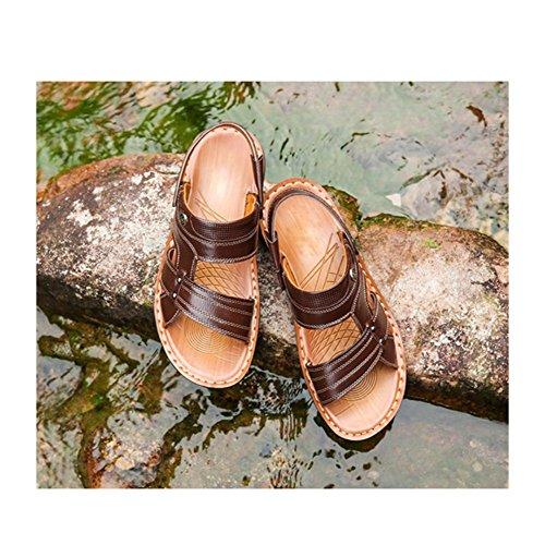 Open In Pantofole Brown Sandali Spiaggia Sandali Da Pelle Scarpe Sling Toe Da Estate Uomo HGDR Back Sandali wIYqa7