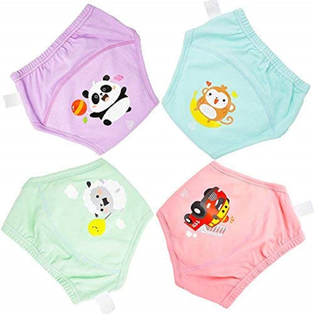 Flyish Potty Training Pants Strong Absorbent Training Pants for Baby Underwear Reusable Training Pants 4 Packs Training Pants for Baby Boys Girls