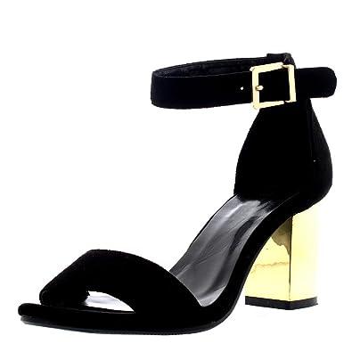 Damen Kaum Dort Ghilie Block-Ferse Ausgeschnitten Fesselriemen Sandalen