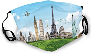 TENJONE Fashion Comfortable Windproof mask,Famous Historical Monuments of The World Theme Holiday Travel Destinations,Printed Facial Decorations for Adult