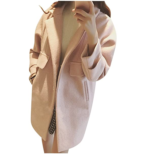 c41fe9b3688d42 Donna Eleganti Cappotto di lana blended Manica Lunga Invernali Cardigan  Lungo Giacca XL Pink