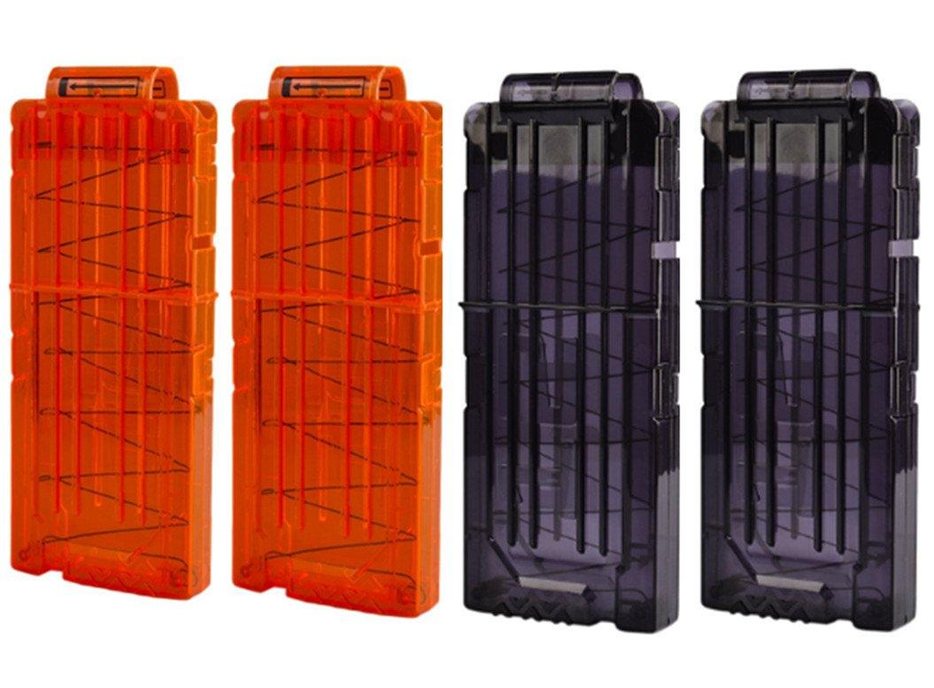 HONGCI 4Pcs Soft Bullet Gun Clip Quick Reload Clip For Nerf Elite Series Toy Gun 12 Bullets Ammo Cartridge Dart Nerf Gun Clips (2 Black+2 Orange)