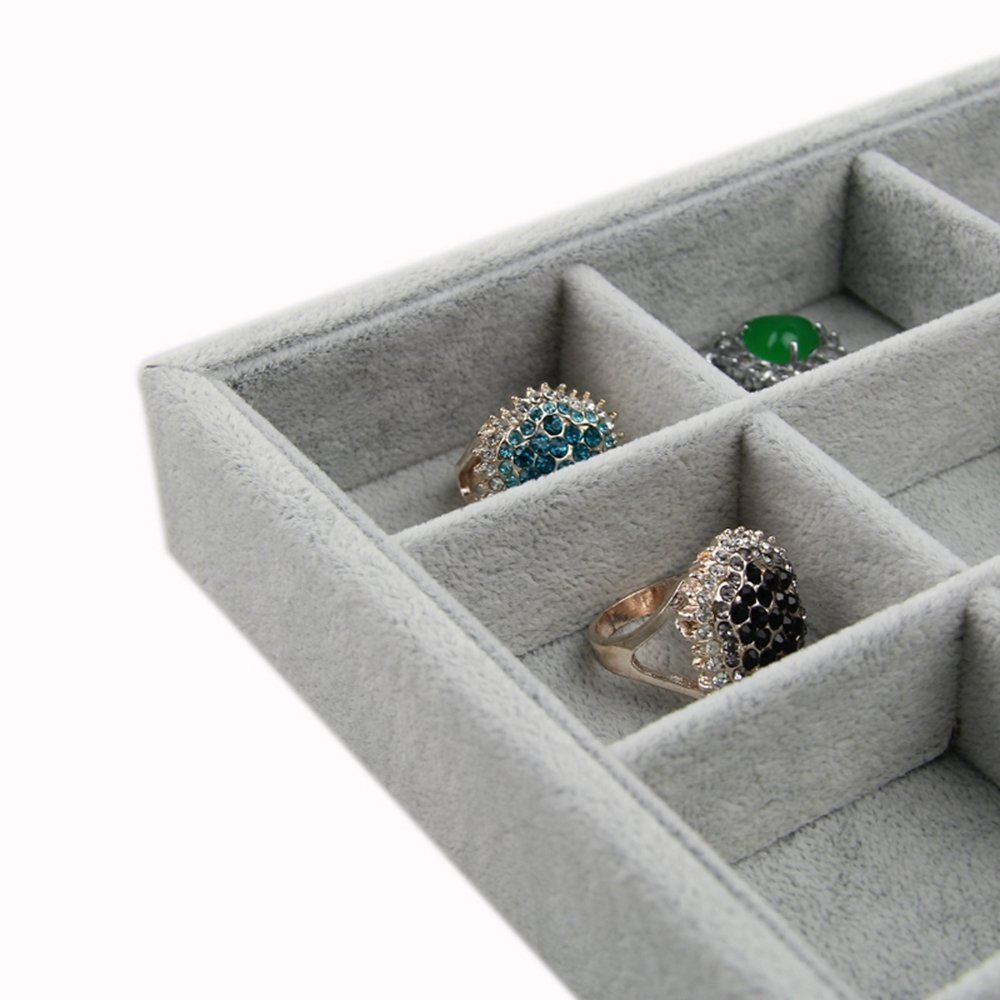 Rings broaches Pendants Coins Bracelets findings, 24 RJ Displays-Ice Gray Plush Velvet Stackable 24 Grid Jewelry Tray Showcase-24 Slots Small Jewelry Earrings