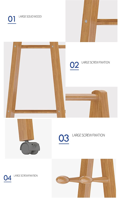 Amazon.com: XJRHB Multi-Function Bamboo Rack Hanger Coat ...