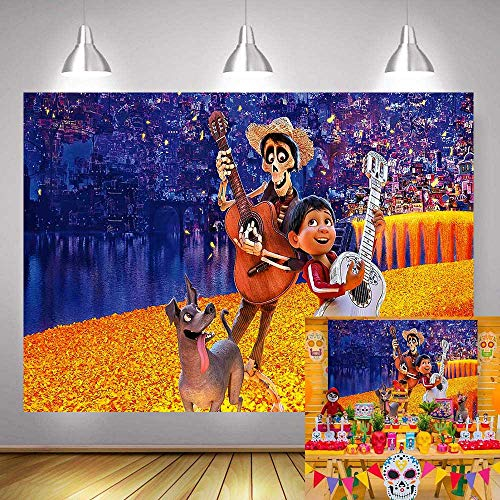 Day Of The Dead Halloween Wallpaper (Coco Gold Day of The Dead Birthday Party Banner Decoration Photography Backdrop Vinyl 7x5ft Children Halloween Mexican Baby Shower Background for Photo Booth Studio Props Cake Table)