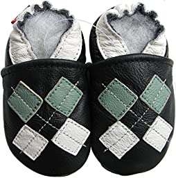 Carozoo baby boy soft sole leather infant toddler kids shoes Argyle Black 7-8y
