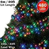 Cluster Lights 480 Multi Colour Outdoor Christmas Tree Lights LED Fairy Lights ( 6m / 20ft Lit Length ) Multi-action Mains Operated Green Cable - Indoor & Outdoo