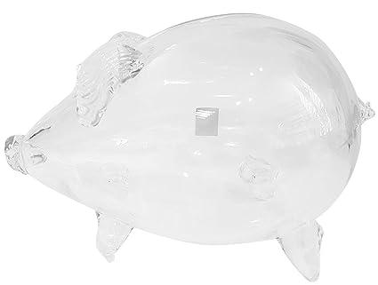Gigante alcancía, hucha, guaca, ladronera en forma de un cerdo de vidrio transparente