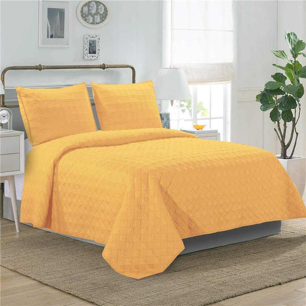 LINT HINT 100% Cotton Machine Quilted and Prewashed 3PC Oversized Quilt Set/Coverlet Set/Bedcover Set/Bedspread Set (Pattern#1-Yellow, Full/Queen)
