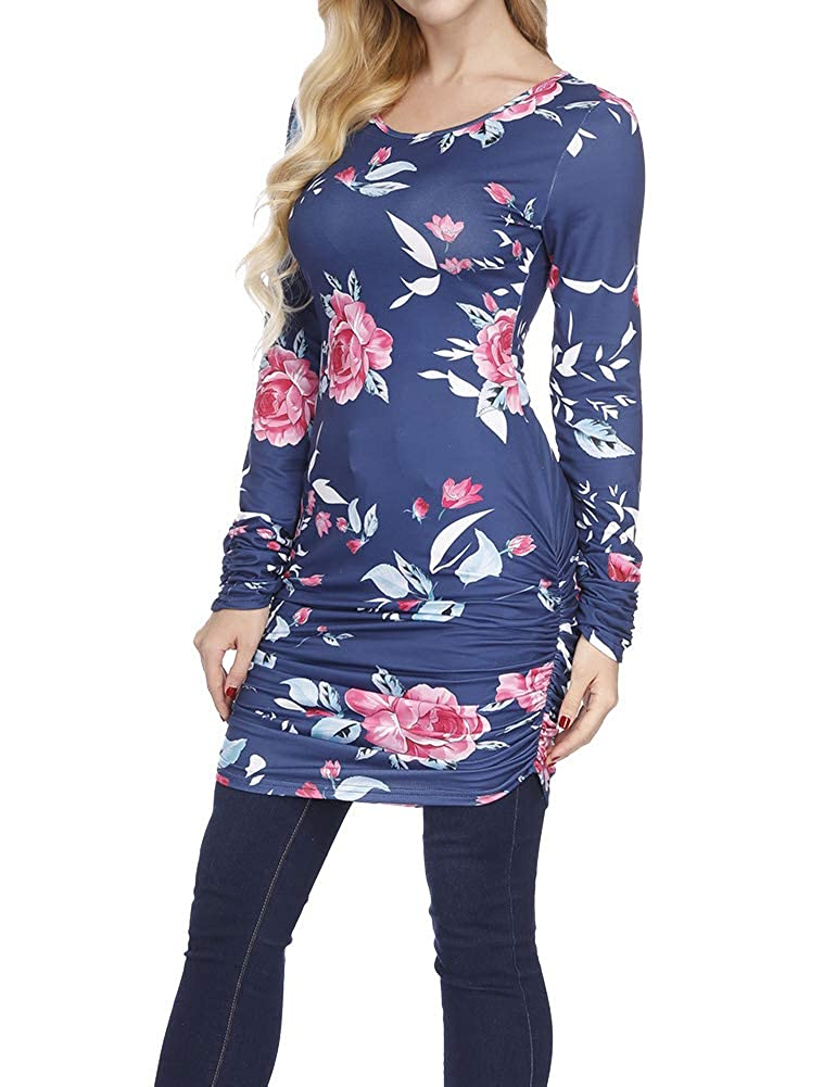 d18ce17bd0 Zumla Womens Floral Print Pleated Ruched Tunic Top Long Sleeve Slim Fit  Shirts at Amazon Women's Clothing store: