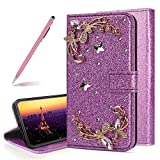 Bling Glitter Phone Case for iPhone Xs Max,SKYXD Cute Girl Flowers Luxury Crystal Rhinestone Diamond Butterfly Soft Protective Wallet Cover for iPhone Xs Max,Purple