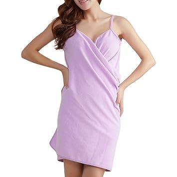 PerGrate perg Transferencia Micro Fiber Wearable Sexy Toalla seca en albornoz Lavado Ropa Wrap Mujeres Toallas playa vestido, Faser lila, 240g: Amazon.es: ...