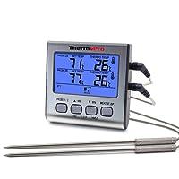 thermopro TP17 Digitales Grill-Thermometer Bratenthermometer Fleischthermometer mit Timer, Zwei Edelstahlsonden, Blaue Hinterbeleuchtung, Temperaturbereich bis 300°C