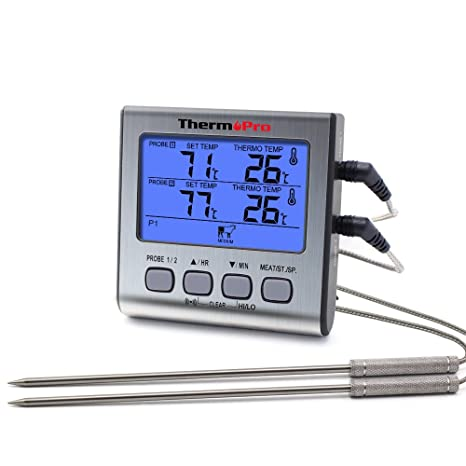 ThermoPro TP17 Digitales Grill-Thermometer Bratenthermometer Fleischthermometer Ofenthermometer mit Timer, Zwei Edelstahlsond