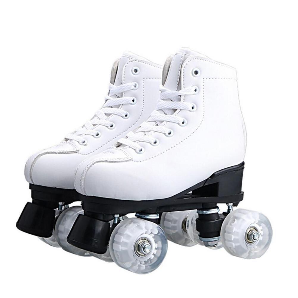 ZZY Einreihig Rollschuhe Weiß Doppelreihe Schlittschuhe Erwachsene Rollschuhe Männer und Frauen Roller Schuhe