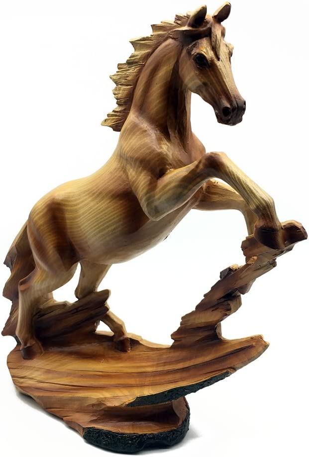Figura decorativa de caballo con efecto de madera