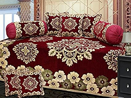 Ab Home Decor Premium Chenille Velvet Heavy Fabric 500 TC Floral Design 8-Piece Diwan Set (Maroon)