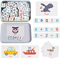 Skrtuan Magnetic Wooden Letters and Numbers Toys Fridge Refrigerator Magnets ABC Alphabet Word Flash Cards Spelling…