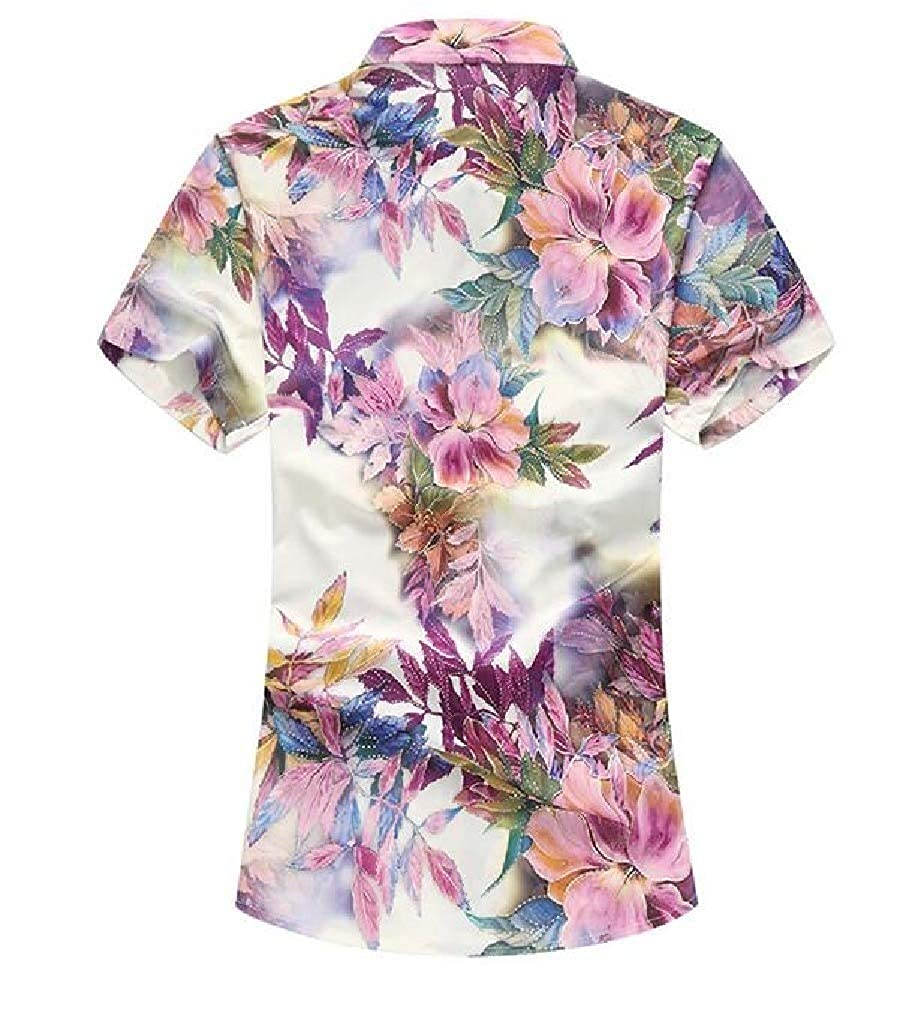 Zimaes-Men Short Sleeve Floral Printed Plus-Size Fashion Casual Shirt