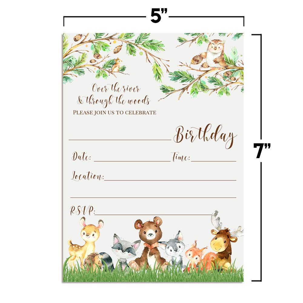 Watercolor Woodland Cute Animals Birthday Party Invitations 20 5x7 Fill in Cards with Twenty White Envelopes by AmandaCreation 20 5x7 Fill in Cards with Twenty White Envelopes by AmandaCreation Amanda Creation