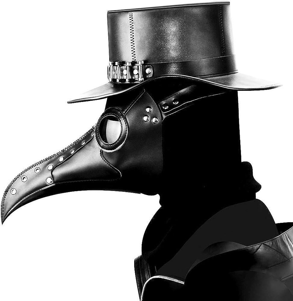 duduta Leather Plague Doctor Mask Steampunk Bird Mask Long Beak Halloween Masquerade Party Costume Mask