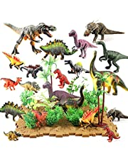 Siairo Dinosaur Figures Dinosaur Toys Realistic Educational Playset Cake Topper with Tree Plant Floret Grass Bottom Plate for Kids 44 Pieces