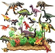 Siairo Dinosaur Figures Dinosaur Toys Realistic Educational Playset Cake Topper with Tree Plant Floret Grass B