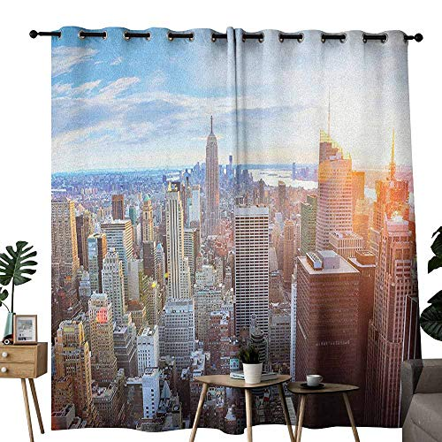 duommhome New York Printed Curtain Sunset in The Manhattan Island Downtown Brooklyn Financial District Skyscrapers Privacy Protection W120 x L96 Multicolor from duommhome
