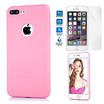 Funda iPhone 7 Plus Silicona, KASOS Carcasa iPhone 7 Plus Cristal Templado Protector de Pantalla + Case TPU Mate Opaco Ultrafina Suave Estilo Sencillo ...