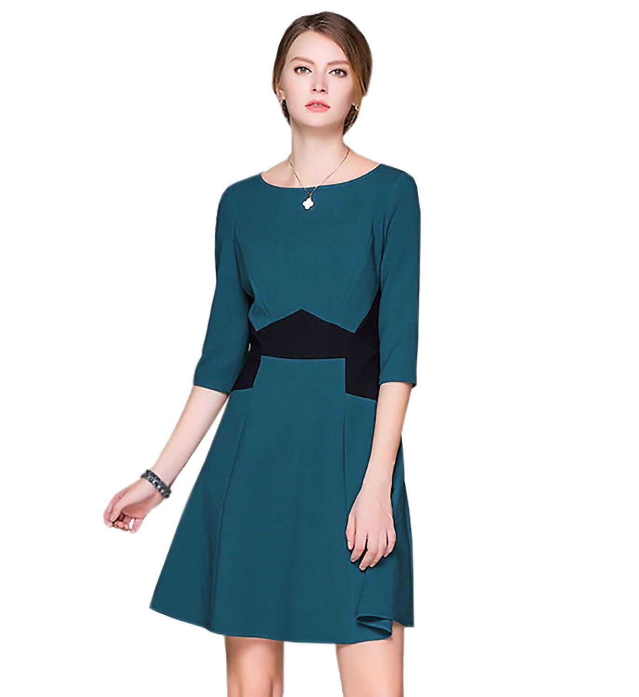 Newland Women's Round Neck Half Sleeve High Waist Contrast Color Dress US 6