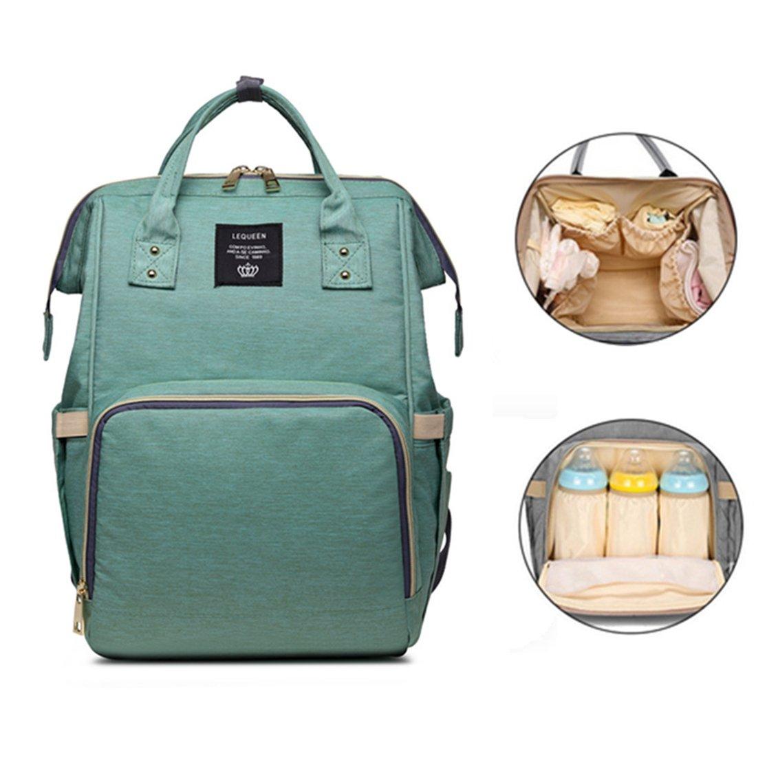 Diaper Bag Backpack Maternity Mommy Nappy Bag Double-shoulder Backpack Mother & Kids Stroller Pram Bags Waterproof Light Green