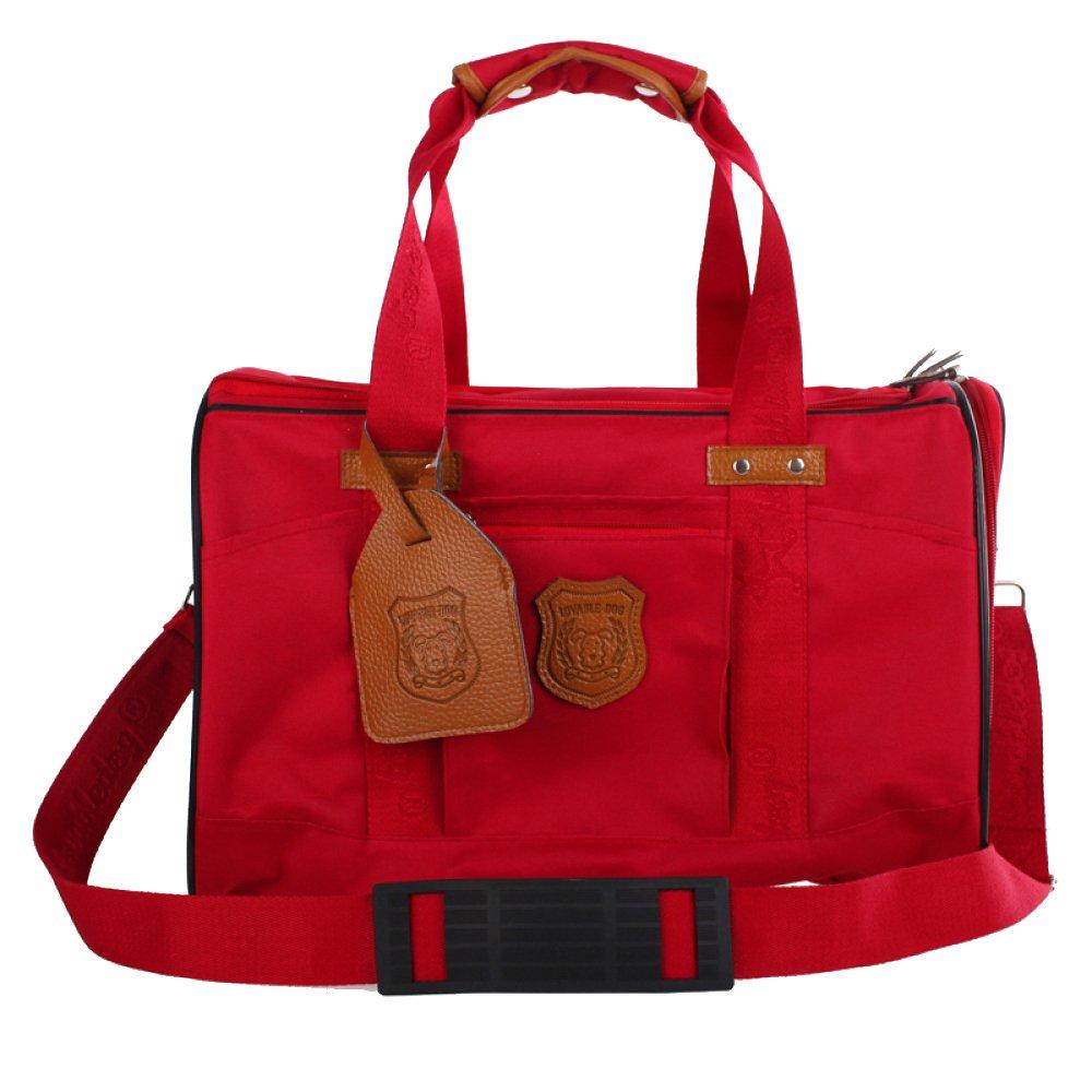 Red AYCC Pet Dog Travel Bag, Handbag, Carry-out Bag, Shoulder Bag, Polyester Oxford, Light And Breathable, Pet Supplies,Red