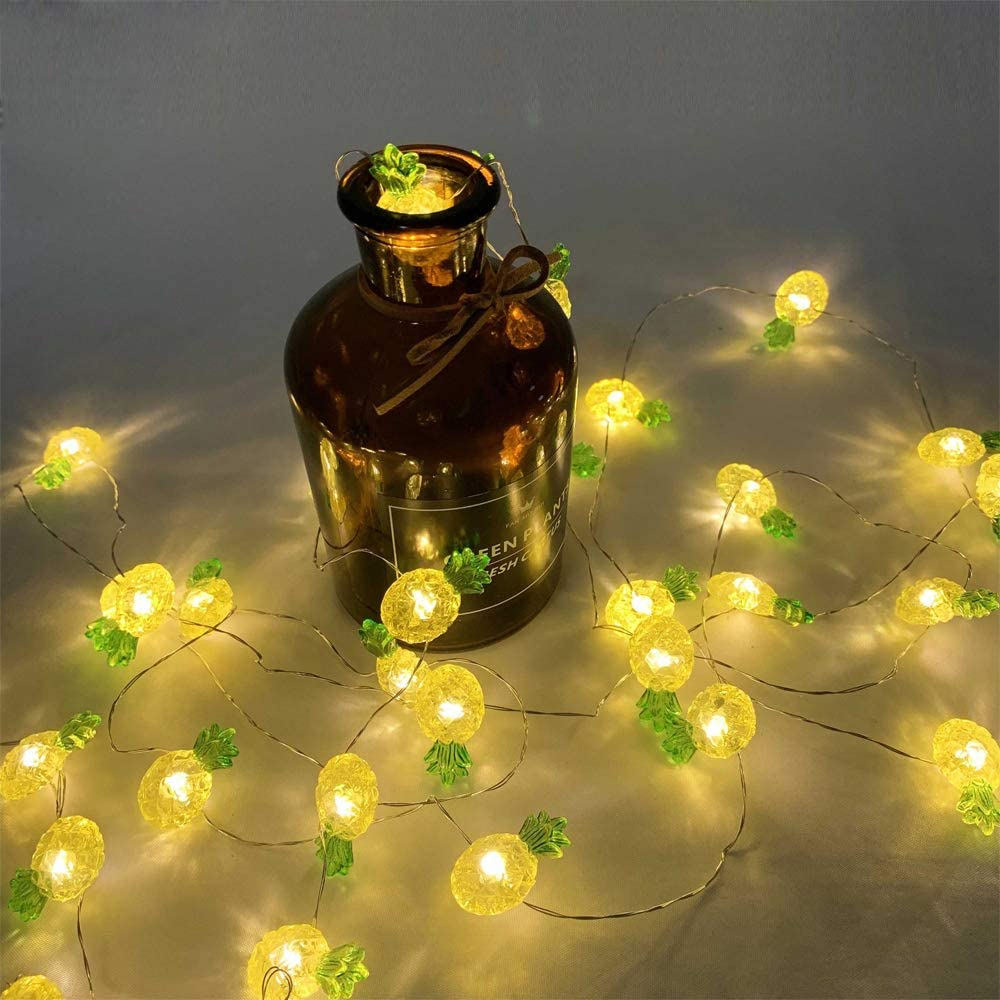 40 LED Pineapple Fairy String Lights Waterproof Battery Operated 8 Modes with Remote Control for Wedding, Party, Festival, Indoor, Outdoor (Pineapple)
