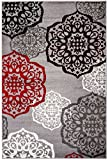 NEW Summit Elite S 53 Moroccan Madallions Gray White Black Red Modern Abstract Area rug (22 inch x 7 Foot Long Hall Way Runner) For Sale