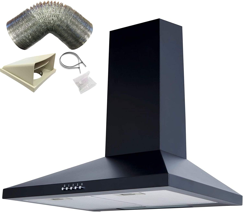 Sia chl61bl 60 cm chimenea campana extractor ventilador en negro + 3 M): Amazon.es: Grandes electrodomésticos