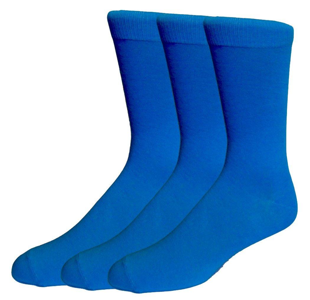 Fine Fit Mens Fancy Solid Color Cotton Socks (3 Pairs) (Royal Blue)