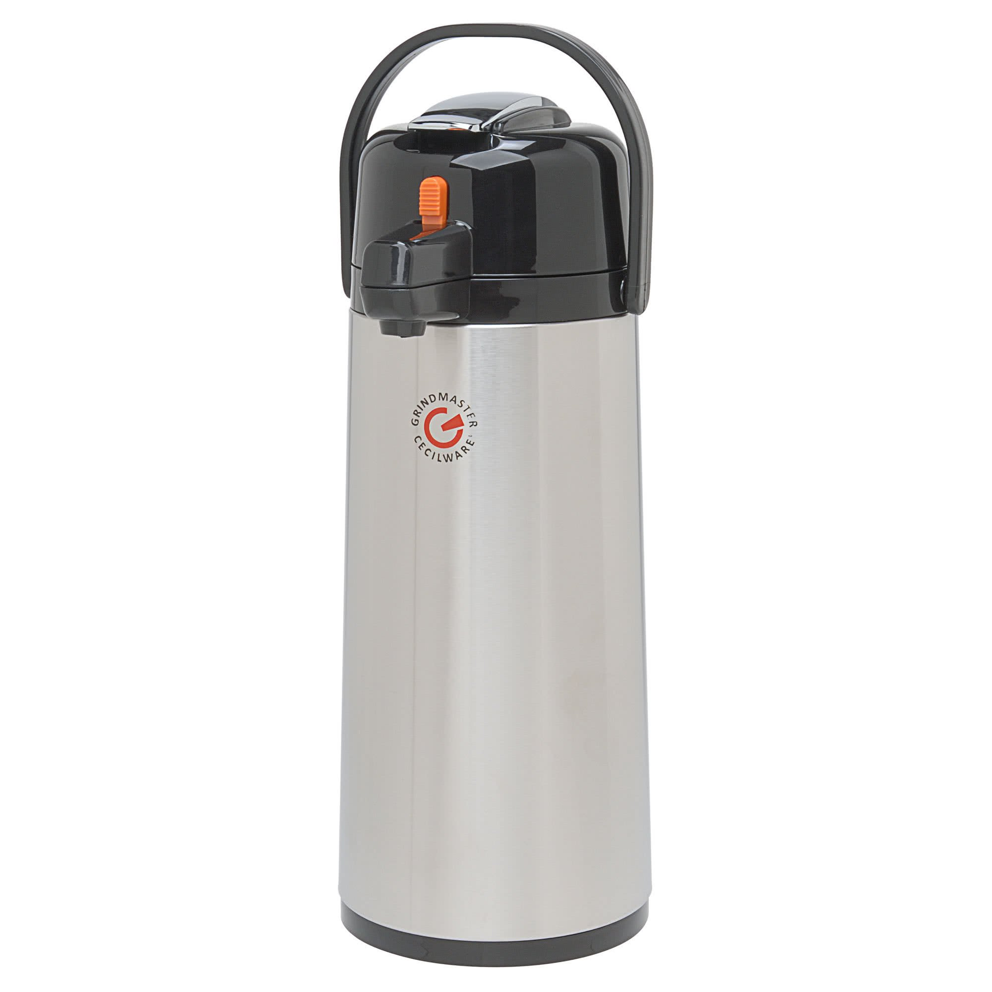 TableTop King 70767-C 2.2 Liter Glass Lined Decaf Airpot with Orange Lever - 6/Case